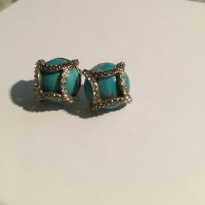 Round turquoise and marcasite earrings studs